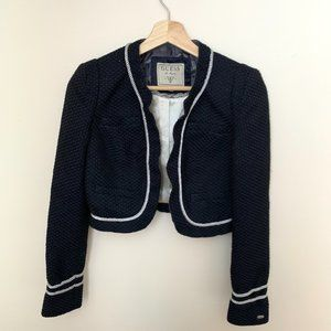 Guess Cropped Tweed Jacket with Roses